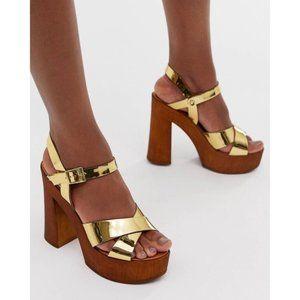 ASOS Design Translate Gold Heeled Sandals Size 8